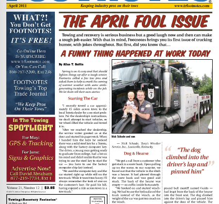 Totman's Towing AGAIN Featured in Towing & Recovery Footnotes!