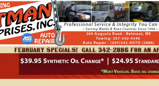 Totman's February 2016 Auto Repair Specials