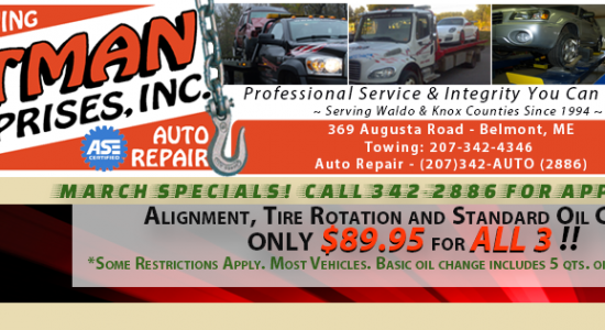 Totman's Auto Repair & Towing - Belmont, Maine - March 2016 Specials