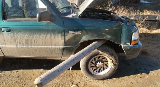 Fence post impales car!